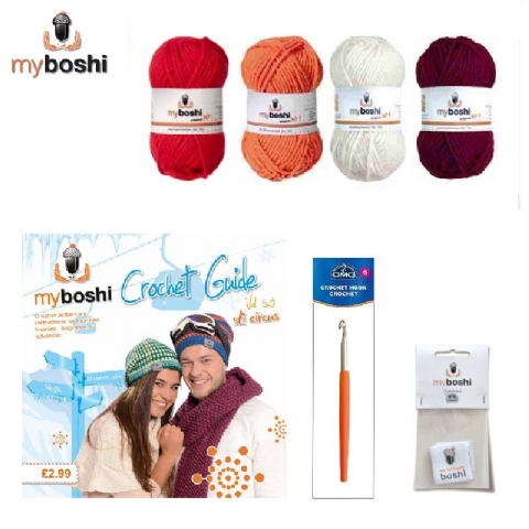 Red - Makes 3 x Myboshi Ski Circus Beanies & Hats - Intermediate to Advanced Crochet Kit